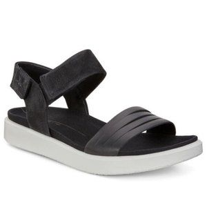 Ecco Flowt Black/White Strap Comfort Sandal 40
